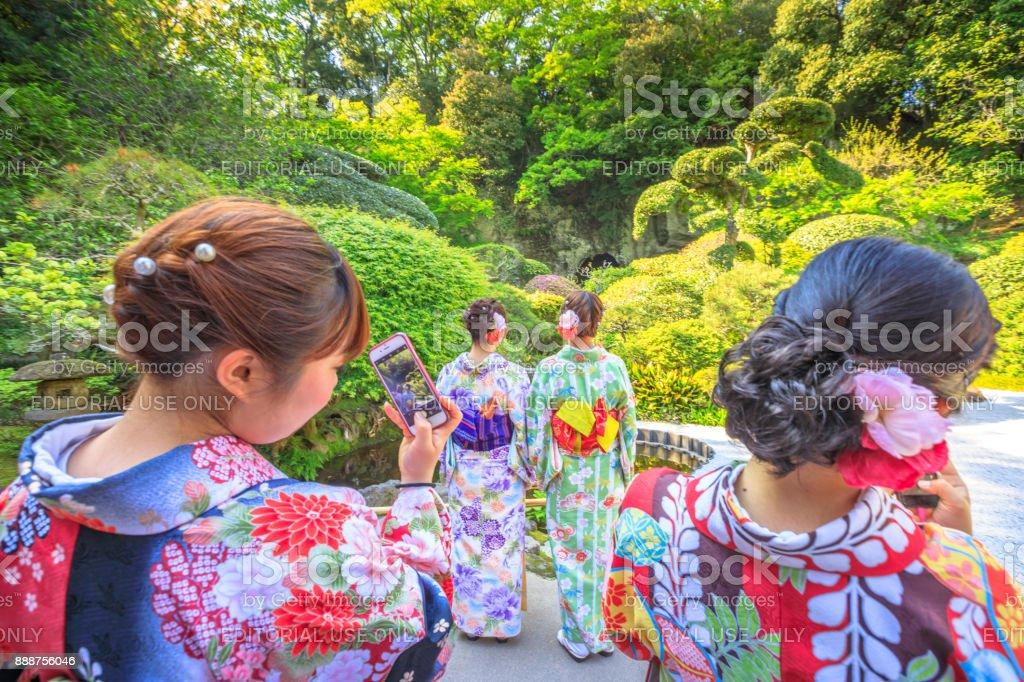 kimono women lifestyle stock photo