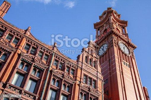 Manchester England - 13.10.2013: Kimpton Clocktower Hotel on blue sky sunny day on Oxford Street