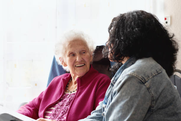 Kind care for senior woman in her nineties stock photo
