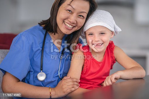 1041630080istockphoto Kind doctor comforts girl with cancer 1176674582