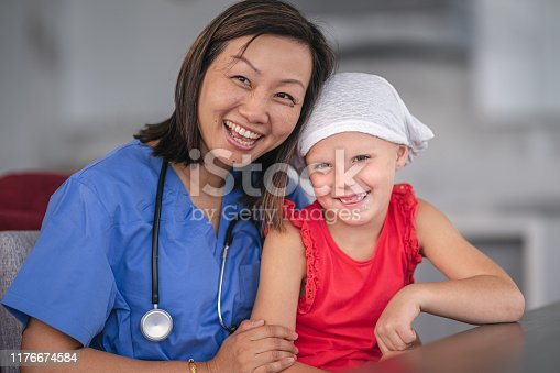 1041630080istockphoto Kind doctor comforts girl with cancer 1176674584