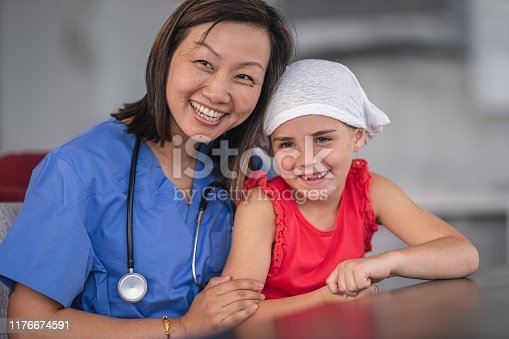 1041630080istockphoto Kind doctor comforts girl with cancer 1176674591