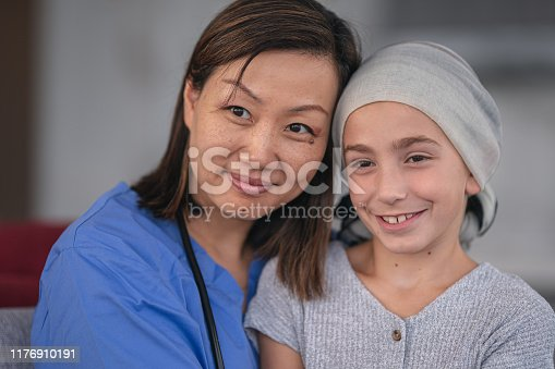 1041630080istockphoto Kind doctor comforts girl with cancer 1176910191