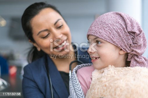 istock Kind doctor comforts young girl with cancer 1175130158