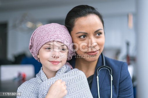 istock Kind doctor comforts young girl with cancer 1175130176
