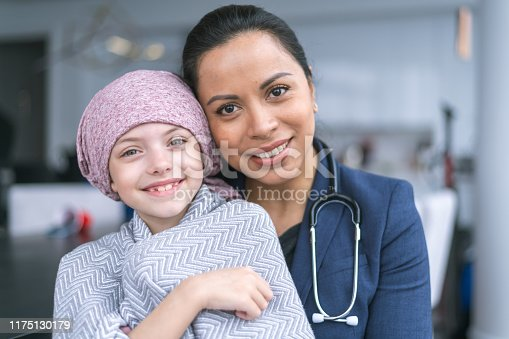 istock Kind doctor comforts young girl with cancer 1175130179