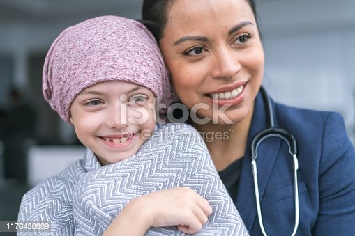istock Kind doctor comforts young girl with cancer 1176438889