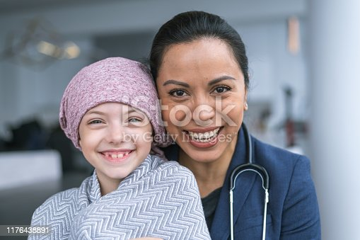 istock Kind doctor comforts young girl with cancer 1176438891