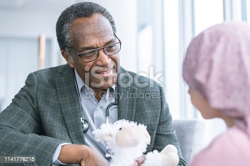 823893962 istock photo Kind doctor consults child with cancer 1141776215