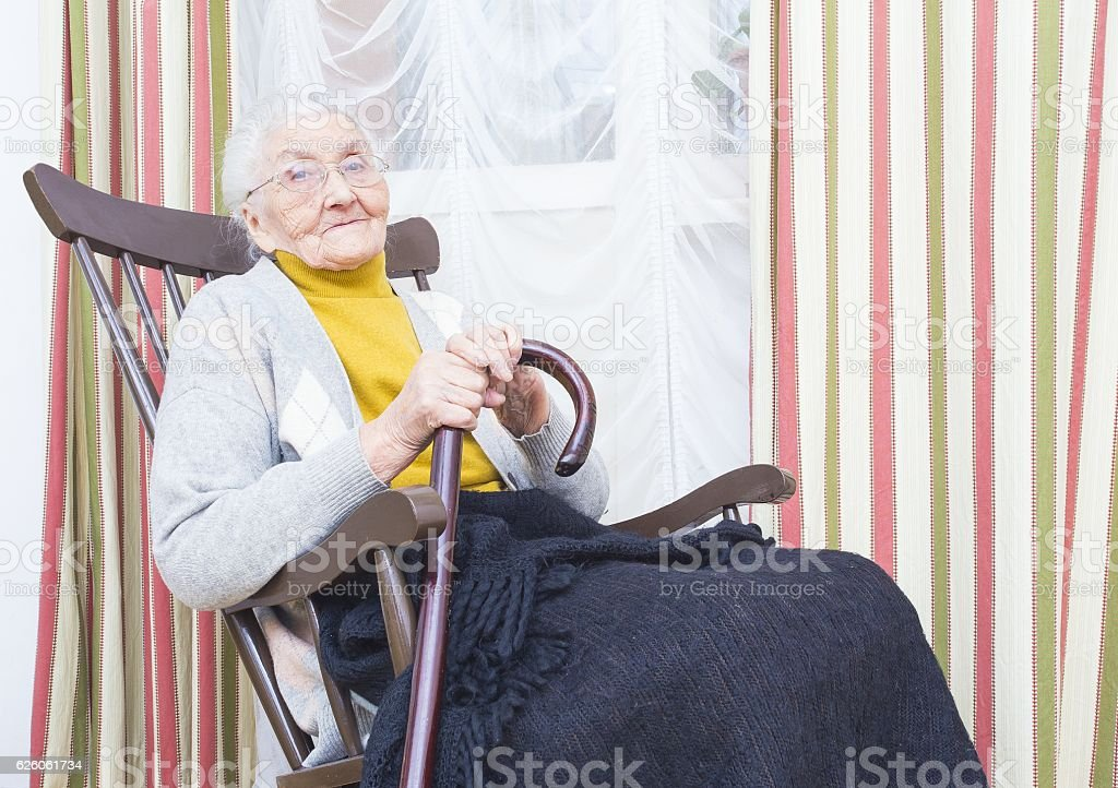 Kind elderly lady stock photo