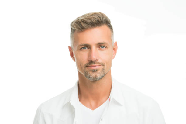 Kind glance. Male natural beauty. Man attractive well groomed facial hair. Barber shop concept. Barber hairdresser. Man mature good looking model. Anti ageing. Handsome man looking at camera close up stock photo