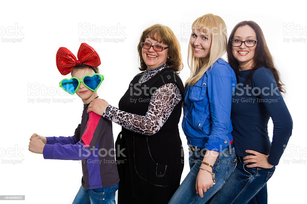 Kind mother and her happy adult daughters stock photo