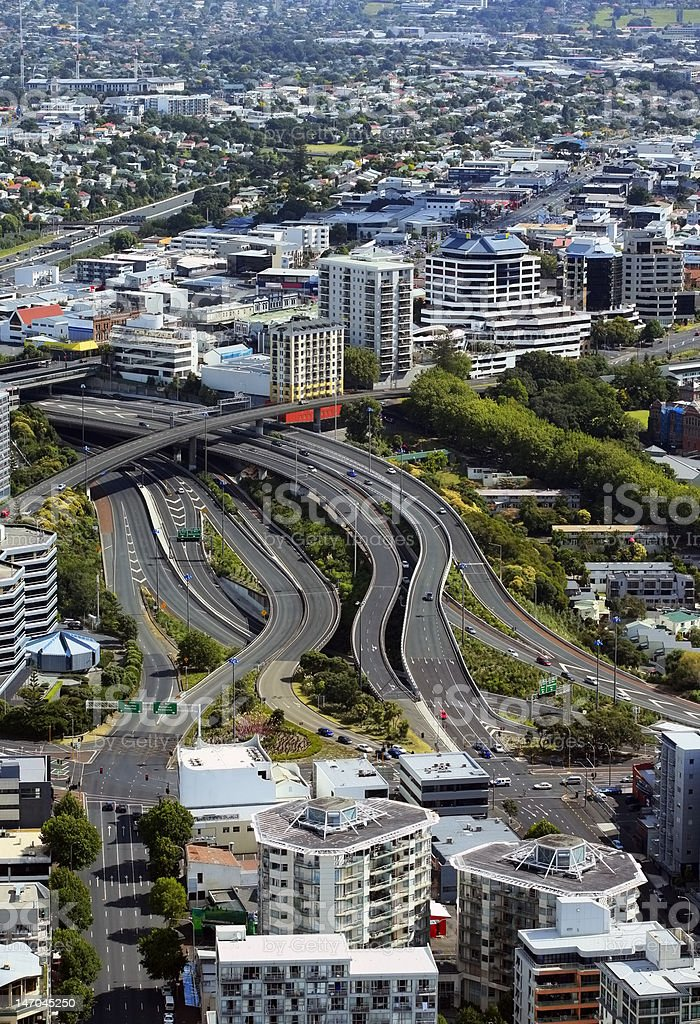 Kind of city Aukland from above. New Zealand royalty-free stock photo