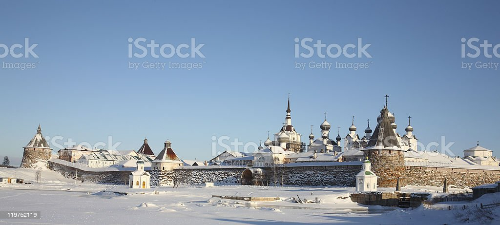 Kind on the Solovetsky monastery stock photo