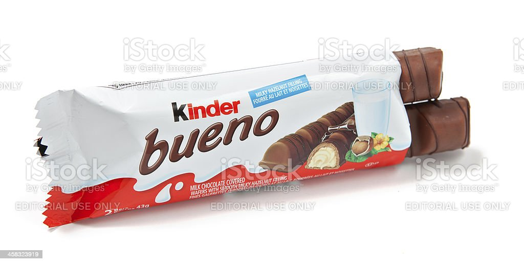 Kinder Bueno Chocolate Candy Bar Unwrapped stock photo