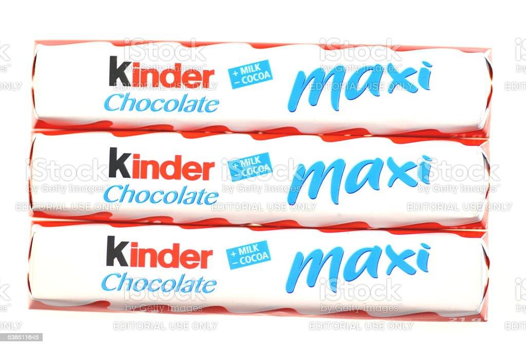 Kinder Chocolate Bars Isolated On White Background Stock