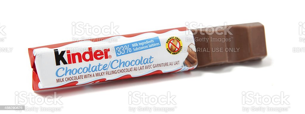 Kinder Chocolate Candy Bar Unwrapped stock photo