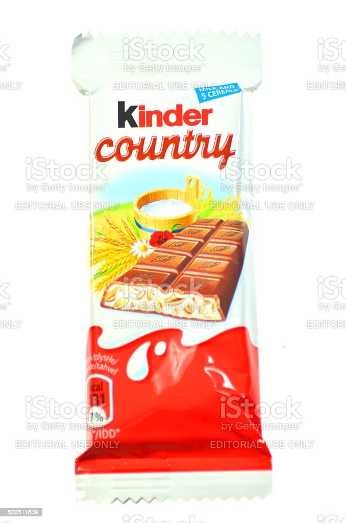 Kinder Country chocolate bar isolated on white background stock photo