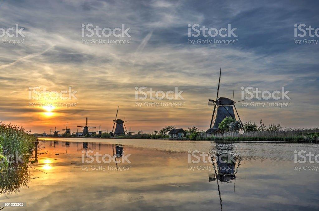 Kinderdijk sunset stock photo