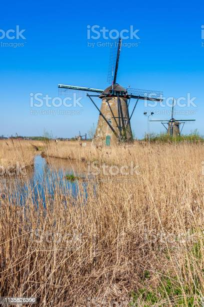 Kinderdijk windmills in line with the water in the Netherlands