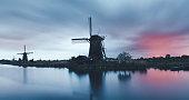 Kinderdijk windmills on a cold colorful spring morning.