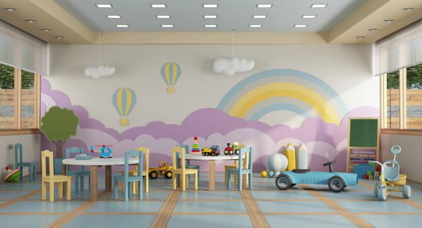 clase de kindergarten sin childs-renderizado 3d - escuela preescolar fotografías e imágenes de stock