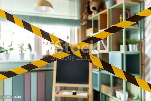 istock Kindergarten closed due to sanitary reason 1214123039