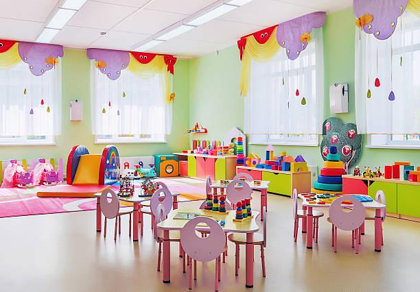 kindergarten, game room. - preschool building stock photos and pictures