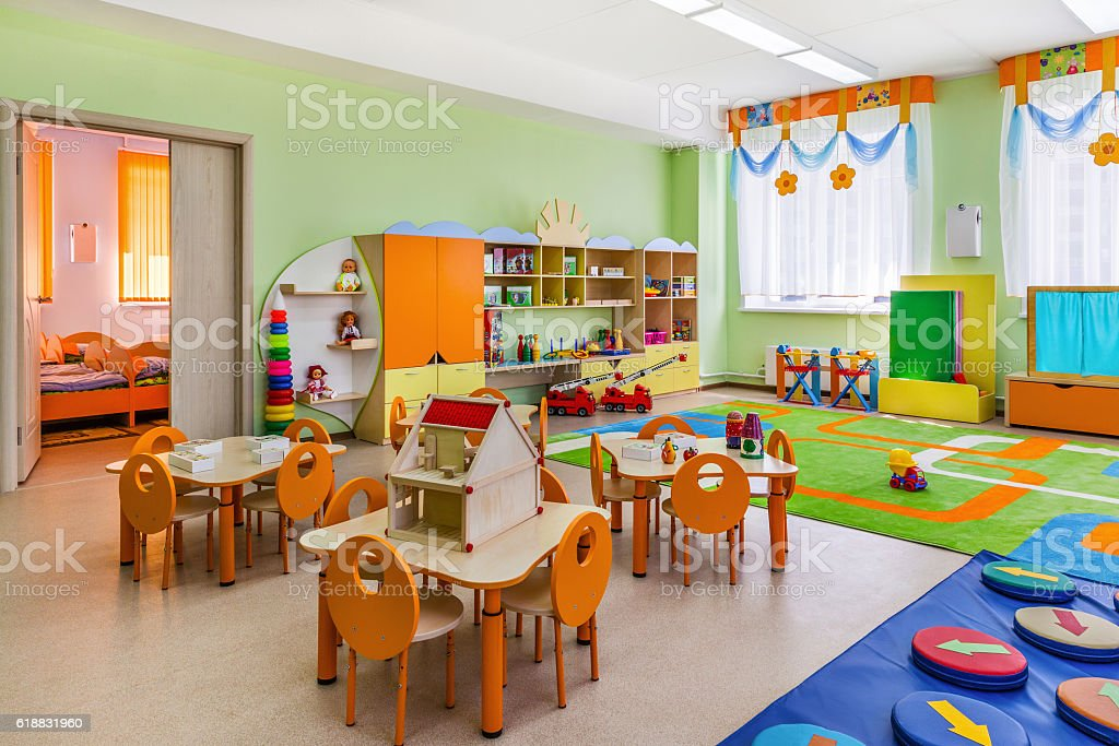 Kindergarten, game room. stock photo