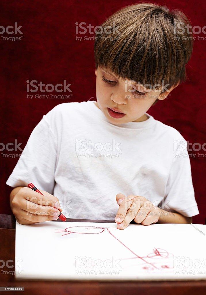 Kindergarten Kid Red Crayon royalty-free stock photo
