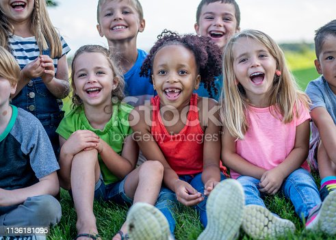 A diverse group of kindergarten kids pose together on the grass in a park, smiling and laughing