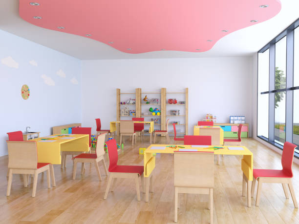 Kindergarten room with toys stock photo