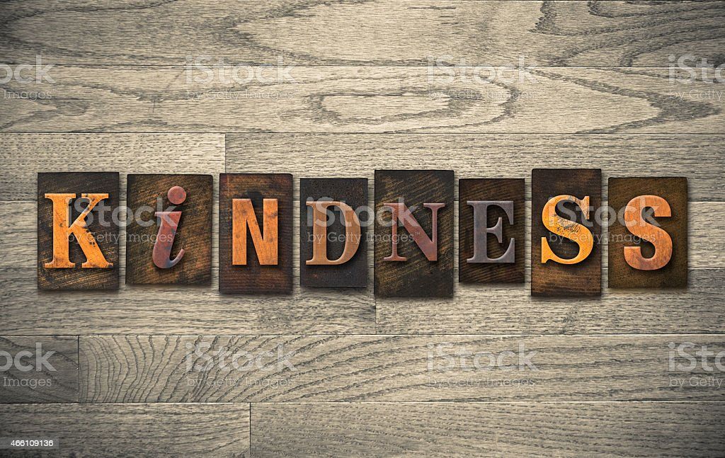 Kindness Wooden Letterpress Concept stock photo