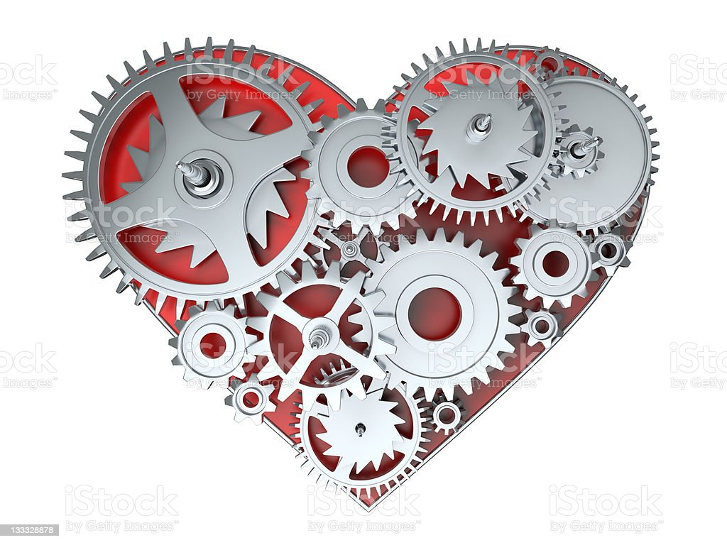 kinematic gears heart royalty-free stock photo