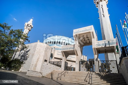 King Abdullah Mosque was built by the late King Hussein between 1982 and 1990 as a memorial to his grandfather. Amman, Jordan. 27 October 2018