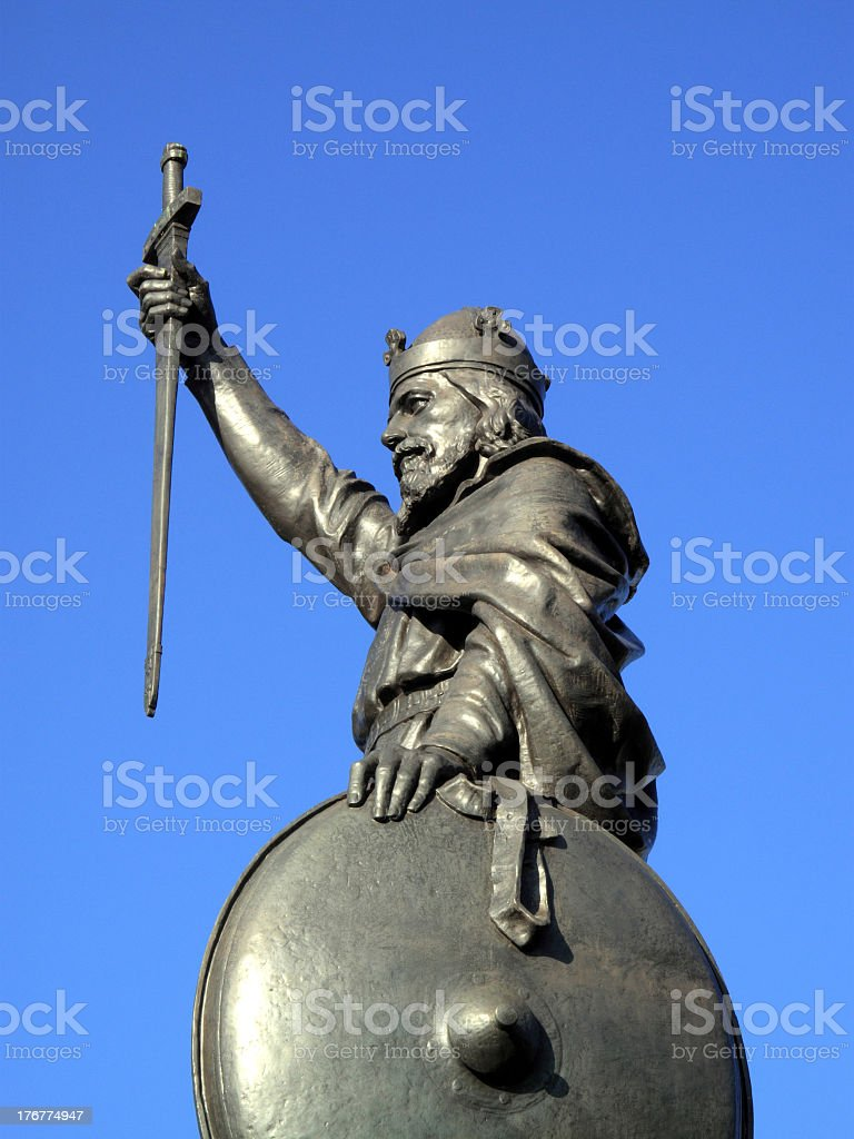 King Alfred The Great's Statue In Winchester royalty-free stock photo