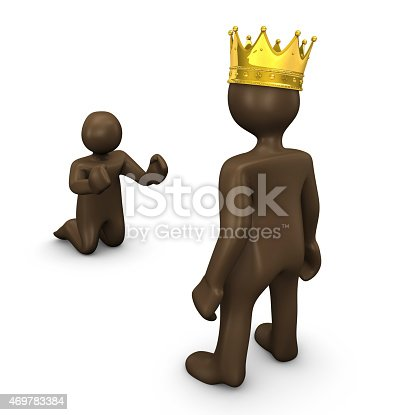 istock King and beggar, 3d illustration with black cartoon character 469783384