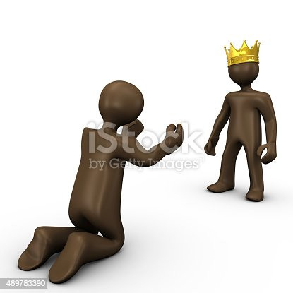 istock King and beggar, 3d illustration with black cartoon character 469783390