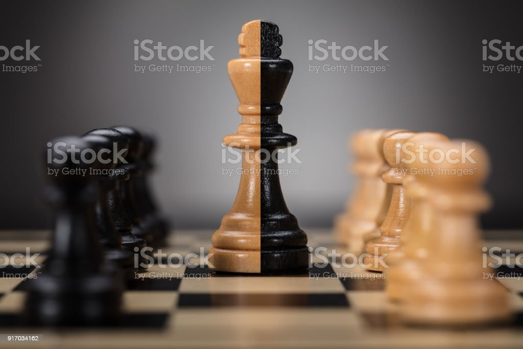 King And Pawns On Chess Board stock photo