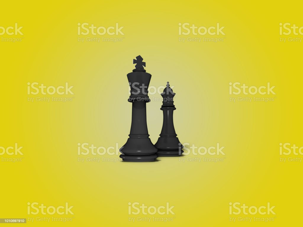 King and queen black chess figures illustration background stock photo