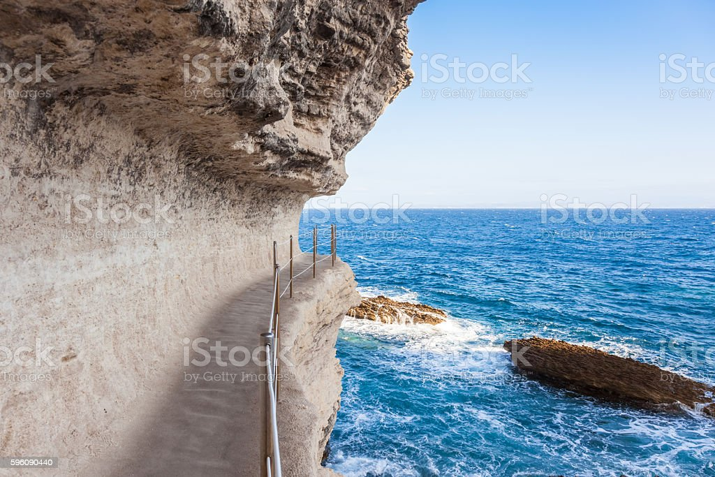King Aragon stairs steps in  Bonifacio cliff coast rocks, Corsic royalty-free stock photo