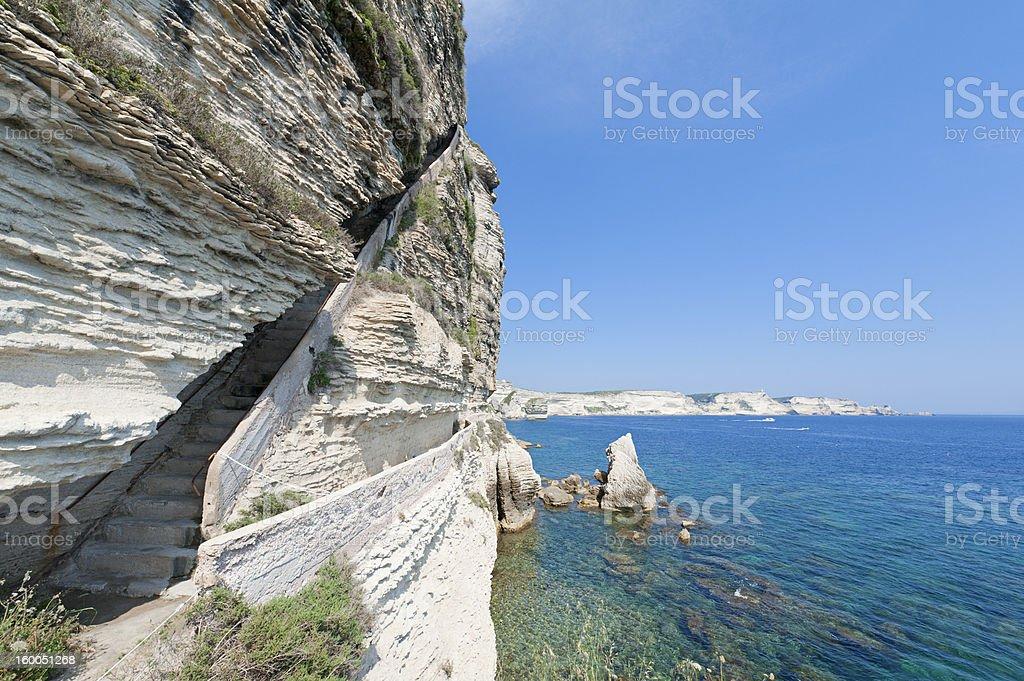 King Aragon's Stairs, Bonifacio stock photo