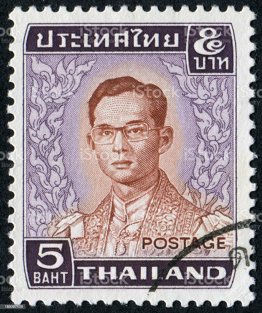 King Bhumibol Adulyadej Stamp stock photo