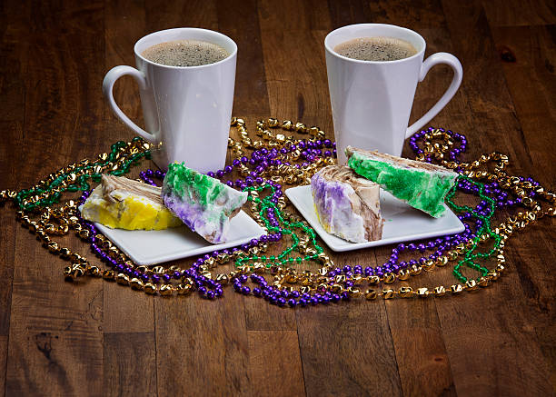 King Cake With Coffee stock photo