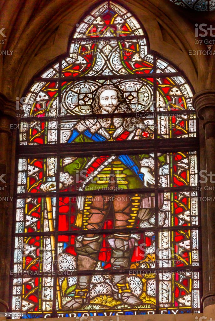 King Charles 1 Stained Glass Chapter House Westminster Abbey London England stock photo