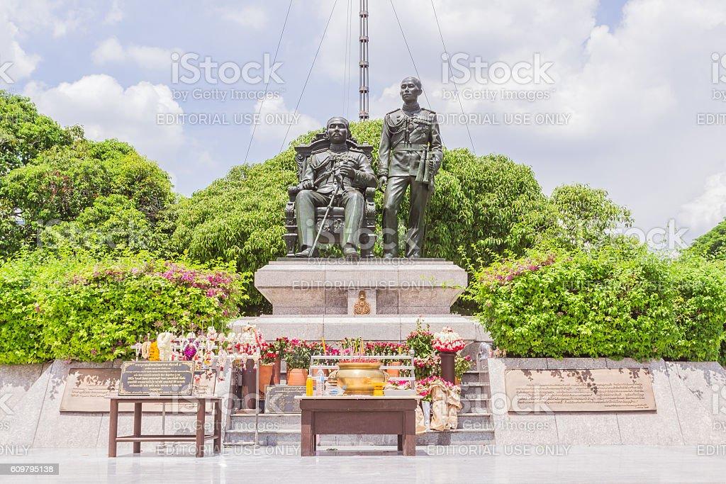 King Chulalongkorn and King Vajiravudth statue stock photo