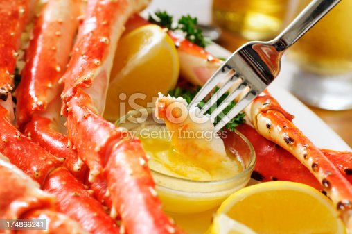 King crab legs with butter lemon and beers.  Please see my portfolio for other food related images.