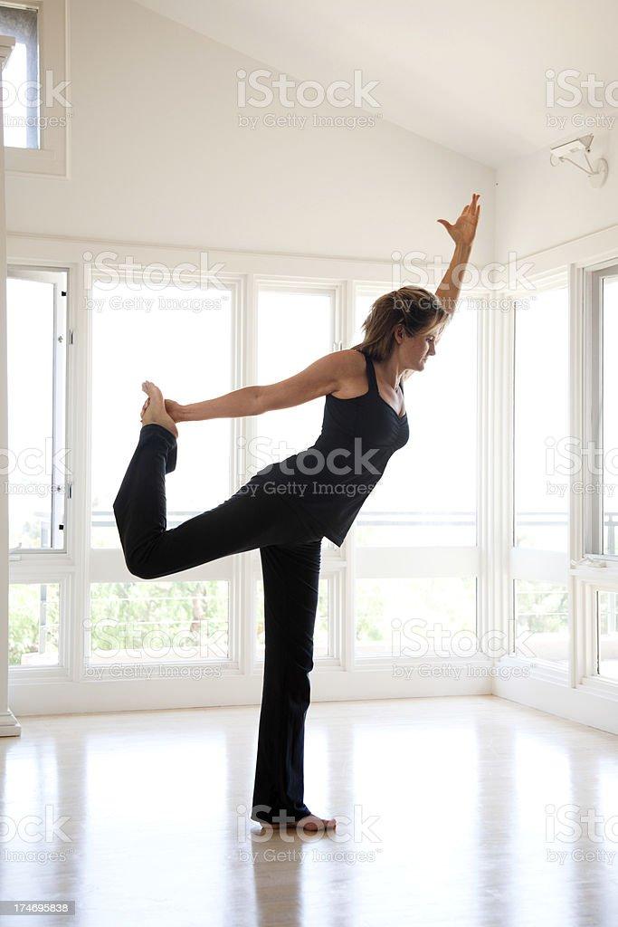 King Dancer Yoga Pose (Natarajasana) royalty-free stock photo