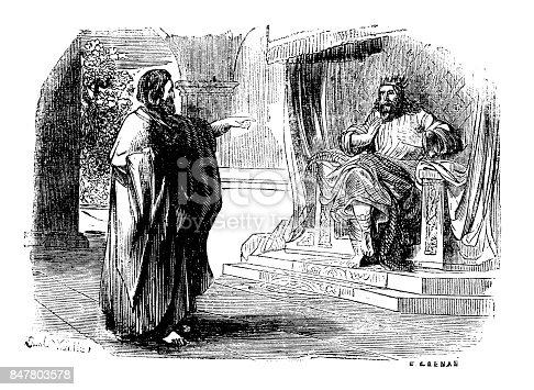 "19th-century illustration of King David theme. Published in ""História Sagrada do Antigo e Novo Testamento"", Tomo 1 - Vª J.-P. Aillaud, Guillard e Cª - 1863"