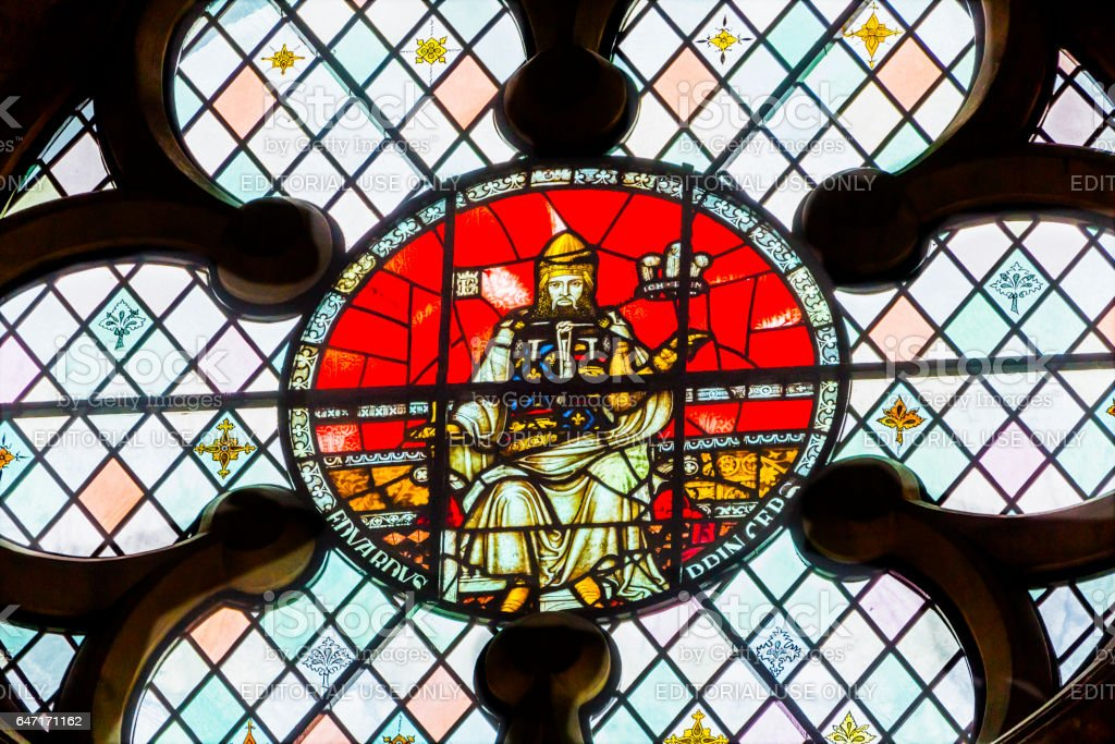 King Edward 1 of Elder Stained Glass Chapter House Westminster Abbey London England stock photo